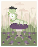 Inchworm eating up a mushroom stock illustration