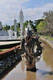 Incida la statua di pietra Wat Rong Khun fotografia stock