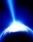 Incidence de météore sur terre Photo stock