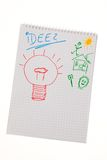 Incidence and idea with bulb. symbol on a drawing. Bulb to drawing as a symbol of new ideas Royalty Free Stock Photos