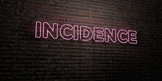 INCIDENCE -Realistic Neon Sign on Brick Wall background - 3D rendered royalty free stock image Royalty Free Stock Image