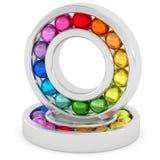 Incidences avec les boules colorées sur le fond blanc Photos libres de droits