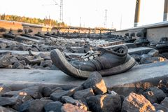 Incident or accident on railway road, boot on sleepers on railway road, Russia Royalty Free Stock Photo