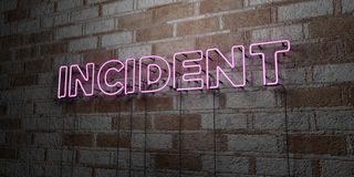 INCIDENT - Glowing Neon Sign on stonework wall - 3D rendered royalty free stock illustration Royalty Free Stock Photography