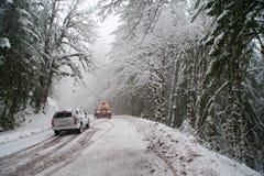 Incidente automatico nella neve fotografie stock libere da diritti