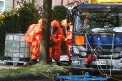 Incidente chimico pericoloso nel traffico stradale Fotografie Stock Libere da Diritti