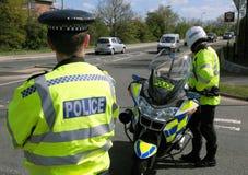 Incidente de la policía. Camino cerrado. Fotos de archivo