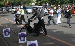 Incidente del motociclo Fotografie Stock Libere da Diritti