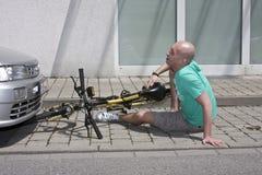 Incidente della bicicletta Immagini Stock