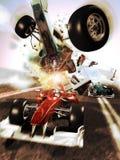 Incidente della corsa di automobile Fotografia Stock Libera da Diritti