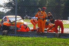 Incidente della pista di corsa Fotografia Stock Libera da Diritti