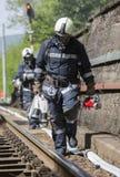 Incidente di arresto di treno dei pompieri Fotografie Stock
