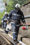 Incidente di arresto di treno dei pompieri Immagini Stock Libere da Diritti