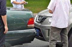 Incidente di schiacciamento dell'automobile Immagini Stock Libere da Diritti