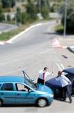 Incidente di traffico ed al driver fotografia stock