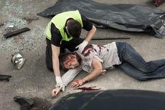 Incidente mortale sulla strada Fotografia Stock Libera da Diritti