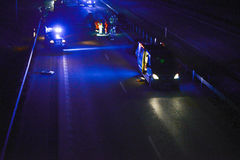 Incidente stradale alla notte Fotografia Stock