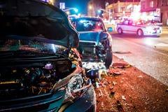 Incidente stradale con la polizia fotografia stock