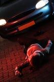 Incidente stradale con una vittima Fotografie Stock Libere da Diritti