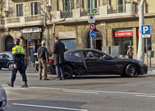 Incidente stradale di Maserati a Barcellona Immagine Stock