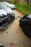 Incidente stradale e volante della polizia Fotografie Stock