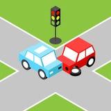 Incidente stradale isometrico Fotografie Stock Libere da Diritti
