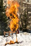 Incineration scarecrow in a shrovetide Stock Image
