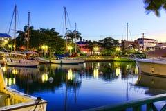Início da noite no cais em Bridgetown, Barbados Fotos de Stock Royalty Free