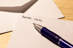Incipit of a letter for the mum Royalty Free Stock Photos