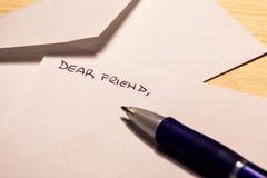 Incipit van een brief aan een vriend Stock Afbeeldingen