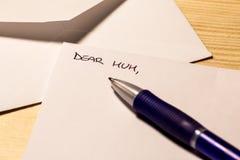 Incipit van een brief voor mum Royalty-vrije Stock Foto's