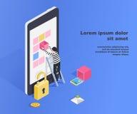 Incisione della base di dati di utente dello smartphone Collegamento insicuro, raggiro online, virus del email, vettore piano iso Immagini Stock