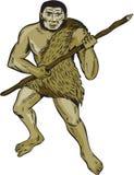 Incisione della lancia della tenuta dell'uomo di neandertaliano Fotografia Stock