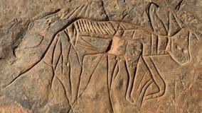 Incisione della roccia nel deserto Immagini Stock Libere da Diritti
