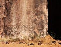 Incisione della roccia nel deserto di Sahara, Algeria Fotografie Stock Libere da Diritti