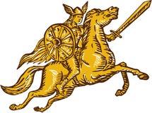 Incisione della spada del cavallo da equitazione del guerriero di valchiria Fotografia Stock Libera da Diritti