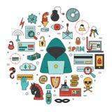 Incisione ed illustrazione rotonda di vettore di crimini cyber Immagine Stock Libera da Diritti