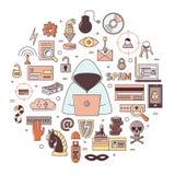 Incisione ed illustrazione rotonda di vettore di crimini cyber Fotografie Stock Libere da Diritti
