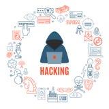 Incisione ed illustrazione rotonda di vettore di crimini cyber Fotografie Stock