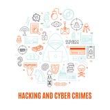 Incisione ed illustrazione rotonda di vettore di crimini cyber Fotografia Stock Libera da Diritti