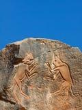 Incisione iconica della roccia, luogo del patrimonio mondiale dell'Unesco Fotografia Stock Libera da Diritti