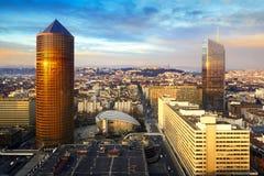 Incity y la parte Dieu se elevan en la ciudad de Lyon, Francia Fotos de archivo libres de regalías