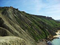 Inclinação da argila na parte noroeste de Malta Imagem de Stock Royalty Free