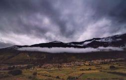 inclinação de montanha na nuvem de encontro com as coníferas sempre-verdes encobertas na névoa em uma opinião cênico da paisagem Fotos de Stock Royalty Free