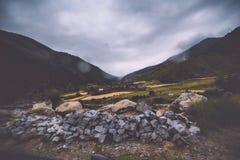 inclinação de montanha na nuvem de encontro com as coníferas sempre-verdes encobertas na névoa em uma opinião cênico da paisagem Fotos de Stock