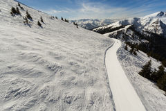 Inclinação do esqui em Kaprun - Zell am vê a estância de esqui Fotos de Stock