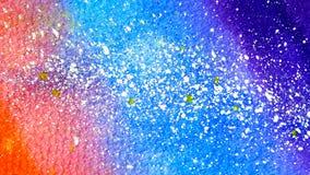 Inclinação estrelado do céu do fundo abstrato da aquarela do amarelo a vermelho e a azul textured como o papel com gotas brancas  ilustração stock