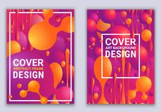 Inclinações coloridos à moda e formas geométricas Cores vermelhas e ultravioletas Cartazes do vetor com bolas abstratas e bolhas  ilustração do vetor