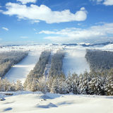 Inclinações do esqui no centro do esqui Fotos de Stock