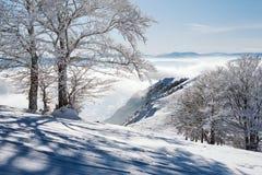 Inclinações nevados na parte superior da montanha com um céu azul claro em um dia ensolarado foto de stock royalty free